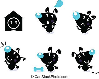 Cute dog collection - vector elemen