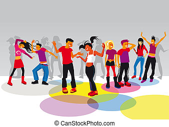 teenagers dancing - Group of boys and girls dancing and...