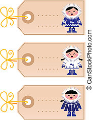 Christmas blank tags with eskimo ki - Blank retro christmas...