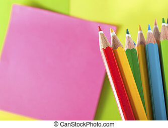 Colour pencils and postit  for reminder note