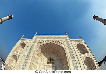 Taj Mahal in India - beautiful Taj Mahal in India with blue...