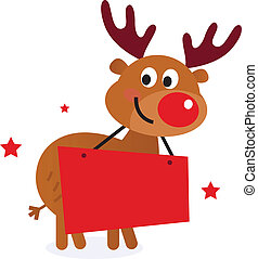 Cute reindeer with christmas banner - Reindeer with blank...