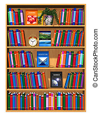 Wooden bookcase with color books - Wooden bookcase with lot...