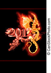 burning dragon and 2012 year - flame dragon and 2012 year...