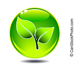 vert, feuille, logo