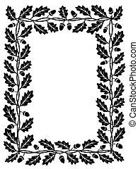quercia, foglia, cornice, nero, silhouette