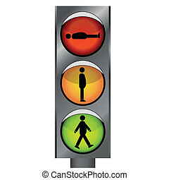funny traffic lights with man silhouette