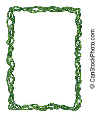 green abstract liana decorative frame - Vector green...