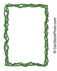 green abstract liana decorative frame - Vector green...