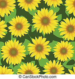 sunflower flower seamless background - vector yellow...