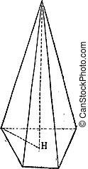 Pyramid, vintage engraving - Pyramid, vintage engraved...