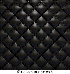 negro, cuero, tapicería, textura