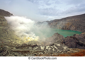 Khava Ijen Java Island Indonesia. - Crater of volcano Khava...