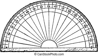 Protractor isolated on white, vintage engraving - Protractor...