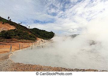 Sulfur Mud Volcano Indonesia - Sulfur Mud Volcano on Plateau...