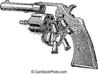 Colt Revolver, vintage engraving. - Colt Revolver, vintage...
