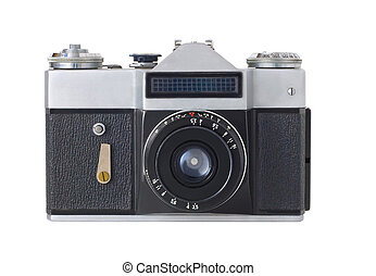 Retro Camera - classic manual film camera on white...
