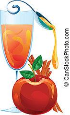 Mulled wine, apple and cinnamon sticks vector illustration