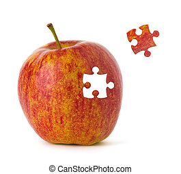Puzzle Apple - Puzzle red apple on white background