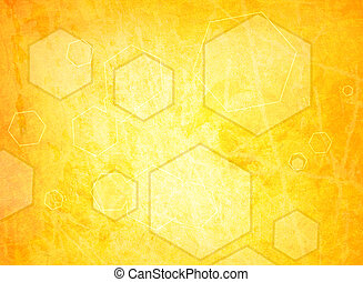 orange hexagon on a grunge background