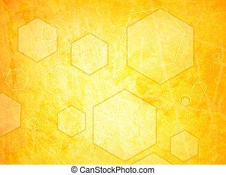 orange hexagon on a grunge background
