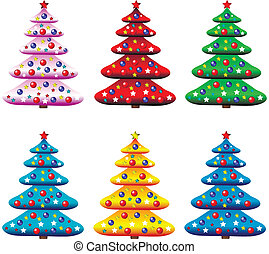 Set of decorated christmas trees