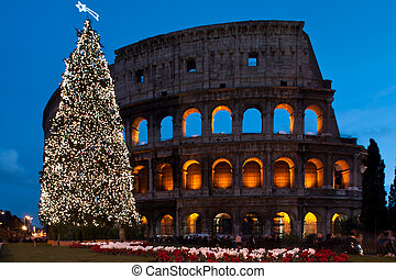 Christmas coliseum - Image of Rome's coliseum famous ancient...