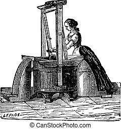 Washerwoman washing clothes vintage engraving - Old engraved...