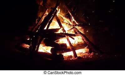 camp fire - firewood burning and crackling