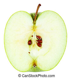 Half of Apple - Green Apple cut in half isolated on white