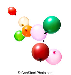 Flying Balloons - Color flying balloons isolated on white