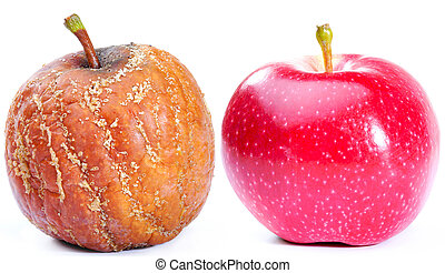 Two apples - Fresh red apple and rotten apple isolated on...