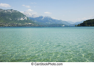 Lake Annecy and crystal water - Lake Annecy, view of its...
