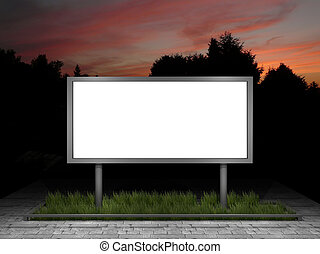 illustration of a blank street advertising panel at dusk