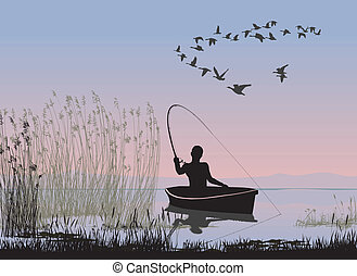 Angler on a boat - vector illustration of a fisherman on the...