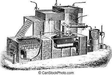 Grabado, aparato, vendimia, destilación, agua, holandés,...
