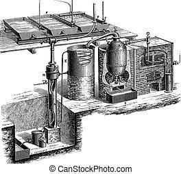 Vacuum distillation vintage engraving - Old engraved...