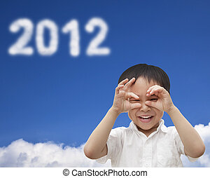 hand of happy kid make telescope shape  and watching the cloud 2012