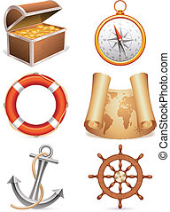 Marine icons - Set of 6 marine icons