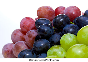 Grapes - Three sorts of grape isolated on white