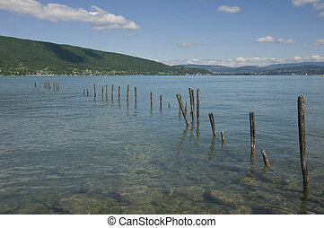 Lake Annecy - View of the lake of Annecy in french alps and...