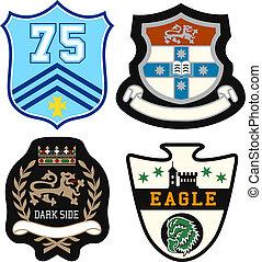 heraldisk, kunglig, emblem, emblem