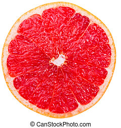 Grapefruit slice - Cross-section of a red grapefruit...
