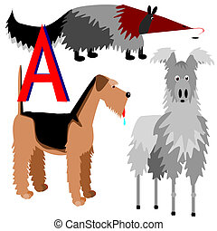 A anteater airedale alpaca - Illustration of animals that...