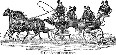 Shooting-brake vintage engraving - Old engraved illustration...