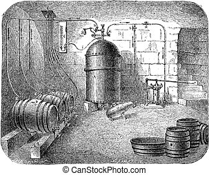 Beer pumps vintage engraving - Old engraved illustration of...