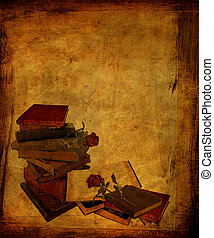 Aged Books and Roses - An aged, textured-look background...