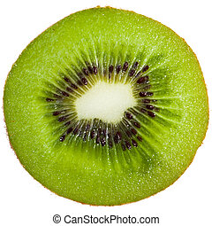 Kiwi slice - Cross-section of a kiwi isolated on white...