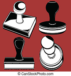 Rubber Stamps - Clip art of various rubber stamping tools