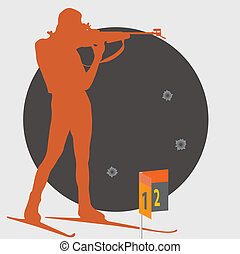 Biathlon. Shooting. Vector illustration for you design